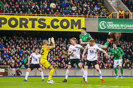 Northern Ireland midfielder Paddy McNair heads towards goal during the UEFA European 2020 Qualifier match between Northern Ireland and Estonia at National Football Stadium, Windsor Park, Northern Ireland on 21 March 2019.