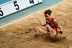Alexander Soethout in action on the long jump during AA Drink Dutch Athletics Championship Indoor on 21 February 2021 in Apeldoorn.