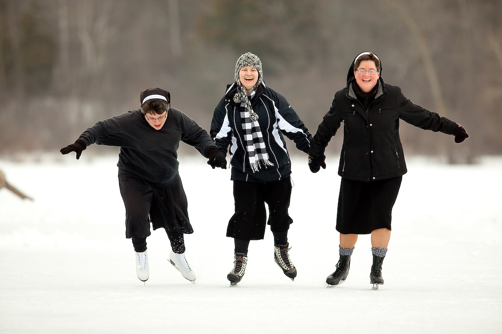 Ice skating sisters at Holy Family Convent in Manitowoc, Wisconsin.
