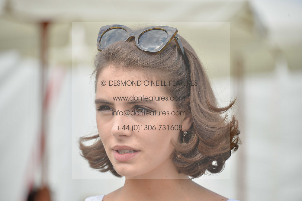 Genevieve Gaunt at Cartier Queen's Cup Polo, Guard's Polo Club, Berkshire, England. 18 June 2017.<br /> Photo by Dominic O'Neill/SilverHub 0203 174 1069 sales@silverhubmedia.com