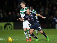 08/11/15 LADBROKES PREMIERSHIP<br /> ROSS COUNTY v CELTIC<br /> GLOBAL ENERGY STADIUM - DINGWALL<br /> Celtic's Stefan Johansen (left) battles with Martin Woods