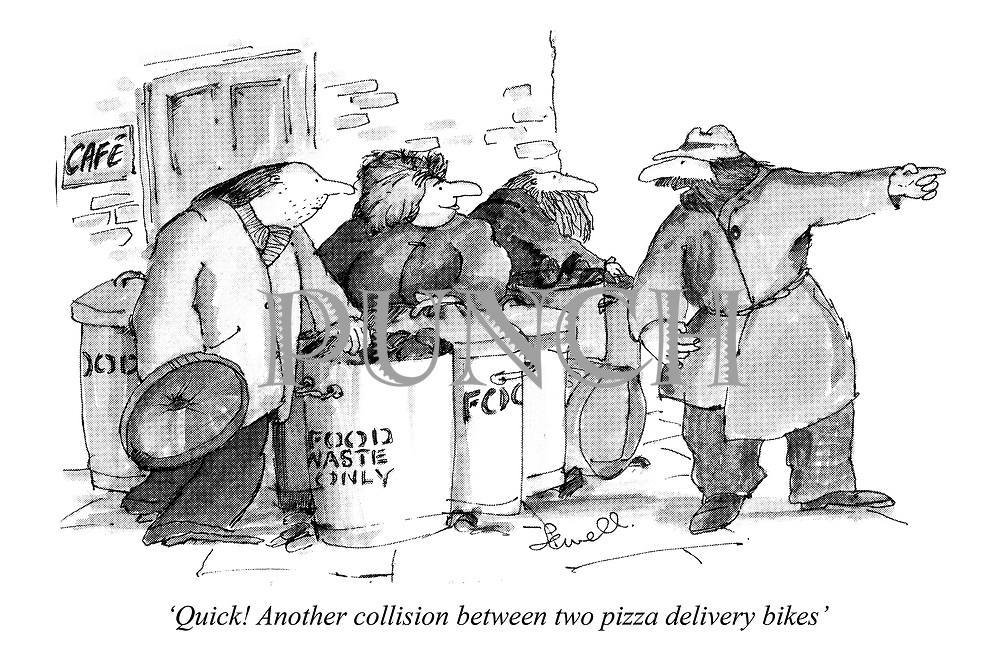 'Quick! Another collision between two pizza delivery bikes'