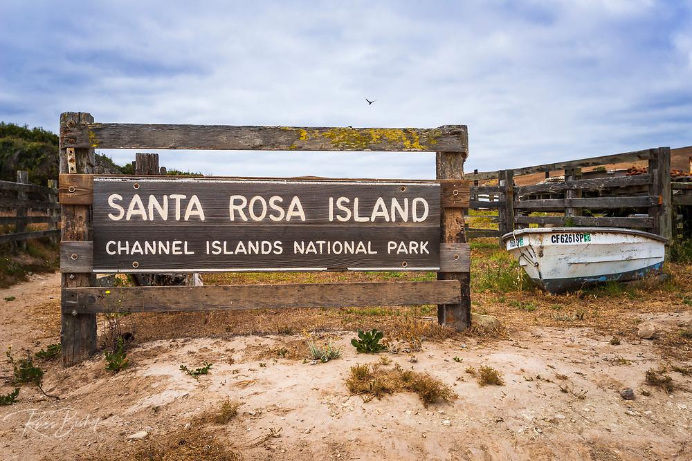 National Park sign at Santa Rosa Island, Channel Islands National Park, California USA