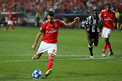 August 21, 2018 - Lisbon, Portugal - Benfica's Portuguese midfielder Pizzi shoots to score a penalty during the UEFA Champions League play-off first leg match SL Benfica vs PAOK FC at the Luz Stadium in Lisbon, Portugal on August 21, 2018. (Credit Image: © Pedro Fiuza via ZUMA Wire)