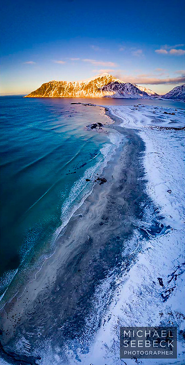 An aerial photograph of icy Skagsanden Beach in winter, at sunset.<br /> <br /> Limited Edition of 125