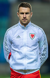 TALLINN, ESTONIA - Monday, October 11, 2021: Wales' captain Aaron Ramsey lines-up before the FIFA World Cup Qatar 2022 Qualifying Group E match between Estonia and Wales at the A. Le Coq Arena. Wales won 1-0. (Pic by David Rawcliffe/Propaganda)