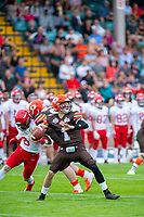 KELOWNA, BC - AUGUST 17:   Alex Douglas #1 of Okanagan Sun throws the ball against the Westshore Rebels at the Apple Bowl on August 17, 2019 in Kelowna, Canada. (Photo by Marissa Baecker/Shoot the Breeze)