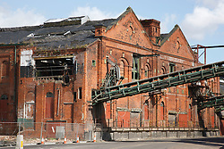 Grimsby Ice House, built 1900, now derelict, showing conveyors which took ice directly to trawlers for packing fish in.