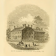 Main House at Shaker Village, KY from the book ' Historical Sketches Of Kentucky (1847) ' ITS HISTORY, ANTIQUITIES, AND NATURAL CURIOSITIES, GEOGRAPHICAL, STATISTICAL, AND GEOLOGICAL DESCRIPTIONS. WITH ANECDOTES OF PIONEER LIFE By Lewis Collins. Published by Lewis Collins, Maysville, KY. and J. A. & U. P. James Cincinnati. in 1847
