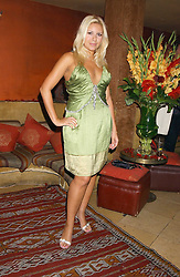 BEVERLEY BLOOM at a dinner hosted by Ayesha Makim and leading stylist Mohieb Dahabieh to celebrate the forthcoming London Fashion Week held at the exotic restaurant Levant, 76 Wigmore Street, London W1 on 8th September 2005.<br /><br />NON EXCLUSIVE - WORLD RIGHTS