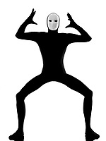 performer man mime with mask angry displeased on studio isolated on white background