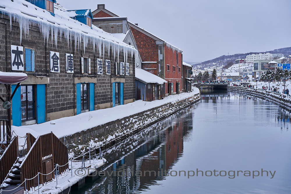 Otaru canal, Hokkaido Japan. Icicles hanging from roof.