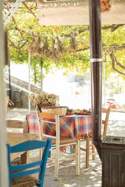 Rural hilltop cafe on summer sunny day, Lesbos, Greece