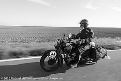 Peter Reeves riding his 1929 Harley-Davidson JD during Stage 9 (249 miles) of the Motorcycle Cannonball Cross-Country Endurance Run, which on this day ran from Burlington to Golden, CO., USA. Sunday, September 14, 2014.  Photography ©2014 Michael Lichter.