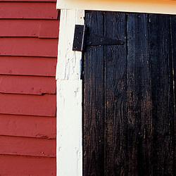 Bolton, MA.  USA.  A door on the barn on the Schartner Farm in Massachusetts' Nashoba Valley.  Apple orchard.