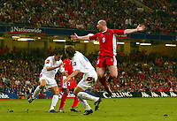 Photograph: Scott Heavey.<br />Euro 2004 Group 9 Qualifying match.<br />Wales v Serbia and Montenegro. 11/10/2003.<br />John Hartson wins the penalty that he then converts