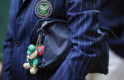 A detailed view of a keyring on day two of the Wimbledon Championships at the All England Lawn Tennis and Croquet Club, Wimbledon. PRESS ASSOCIATION Photo. Picture date: Tuesday July 3, 2018. See PA story TENNIS Wimbledon. Photo credit should read: Steven Paston/PA Wire. RESTRICTIONS: Editorial use only. No commercial use without prior written consent of the AELTC. Still image use only - no moving images to emulate broadcast. No superimposing or removal of sponsor/ad logos. Call +44 (0)1158 447447 for further information.
