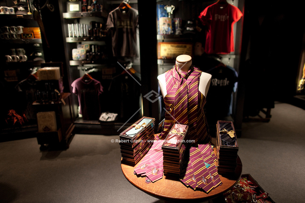 """The gift shop at the """"Harry Potter"""" exhibition at Discovery Times in New York. ..Photo by Robert Caplin."""