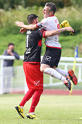 June 9, 2018 - London, England, United Kingdom - Marco Murriero of Padania  and Andrea Rota of Padania  celebrate after saveing  a penalty to win the game.during Conifa Paddy Power World Football Cup 2018 Bronze Medal Match Third Place Play-Off between Padania v Szekely Land at Queen Elizabeth II Stadium (Enfield Town FC), London, on 09 June 2018  (Credit Image: © Kieran Galvin/NurPhoto via ZUMA Press)