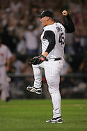 CHICAGO - OCTOBER 5:  Bobby Jenks of the Chicago White Sox celebrates after recording the last out of Game 2 of the American League Divisional Series against the Boston Red Sox at U.S. Cellular Field on October 5, 2005 in Chicago, Illinois.  The White Sox defeated the Red Sox 5-4.