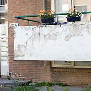 Nederland Rotterdam 01-06-2009 20090601 Foto: David Rozing   ..Achterstandswijk Pendrecht Rotterdam zuid, slecht onderhouden balkons, afgebladderde verf kale plekken op balkons. Man in portiek, bewoner probeert armzalig exterieur op te  fleuren met een bloemetje, bleoemen, bloembakken. deprived area / projects âEURoeKatendrecht âEURoe This area is on a list with projects which need help of the government because of degradation in the area etc., project, suburb, suburbian, problem. Neighboorhood, neighboorhoods, district, city, problems,  daily life Holland, The Netherlands, dutch, Pays Bas, Europe ..Foto: David Rozing