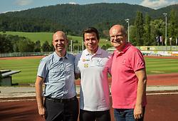 Tadej Enci (C) with Robert Žlajpah and Anton Petrič of Športna zveza gluhih Slovenije at Media day of athlete Tadej Enci, 400m runner, organised by ZSIS - POK, on June 5, 2017 in Stadium Ob Jezeru, Velenje, Slovenia. Photo by Vid Ponikvar / Sportida