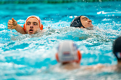 Pascal Janssen of the Netherlands in action against Romain Marion Vernoux of France during the Olympic qualifying tournament. The Dutch water polo players are on the hunt for a starting ticket for the Olympic Games on February 17, 2021 in Rotterdam