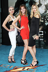 @ London News PIctures. Emily Garner; Sophie Ellson; Naomi Pelkiewicz; Britain & Ireland's Next Top Model at  Pacific Rim European Film Premiere, BFI IMAX Waterloo, London UK, 04 July 2013. Photo by Richard Goldschmidt/LNP