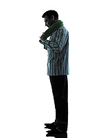 one man in pajamas sleepy tired silhouettes on white background