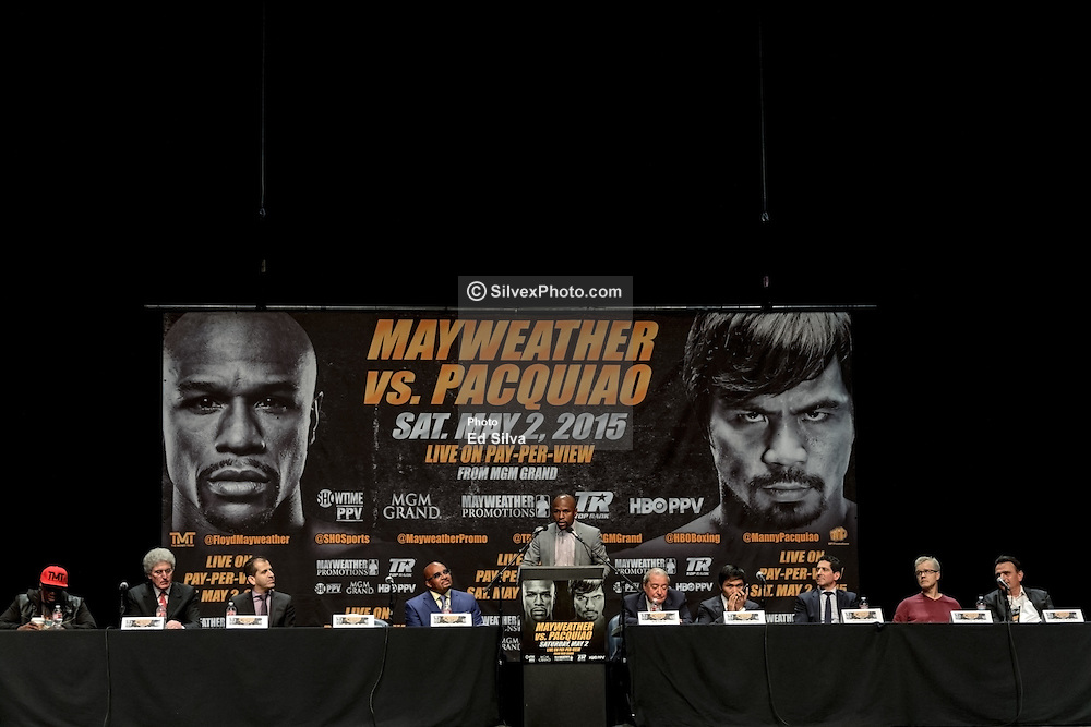 LOS ANGELES, CA - MAR 10 Floyd Mayweather addresses the press during the Mayweather vs Pacquiao press conference at the Nokia Theater in Los Angeles, California USA to promote their upcoming bout at the MGM Grand in Las Vegas, NV May 2, 2015. This is the ony presser. 2015 Feb 9. Byline, credit, TV usage, web usage or linkback must read SILVEXPHOTO.COM. Failure to byline correctly will incur double the agreed fee. Tel: +1 714 504 6870.
