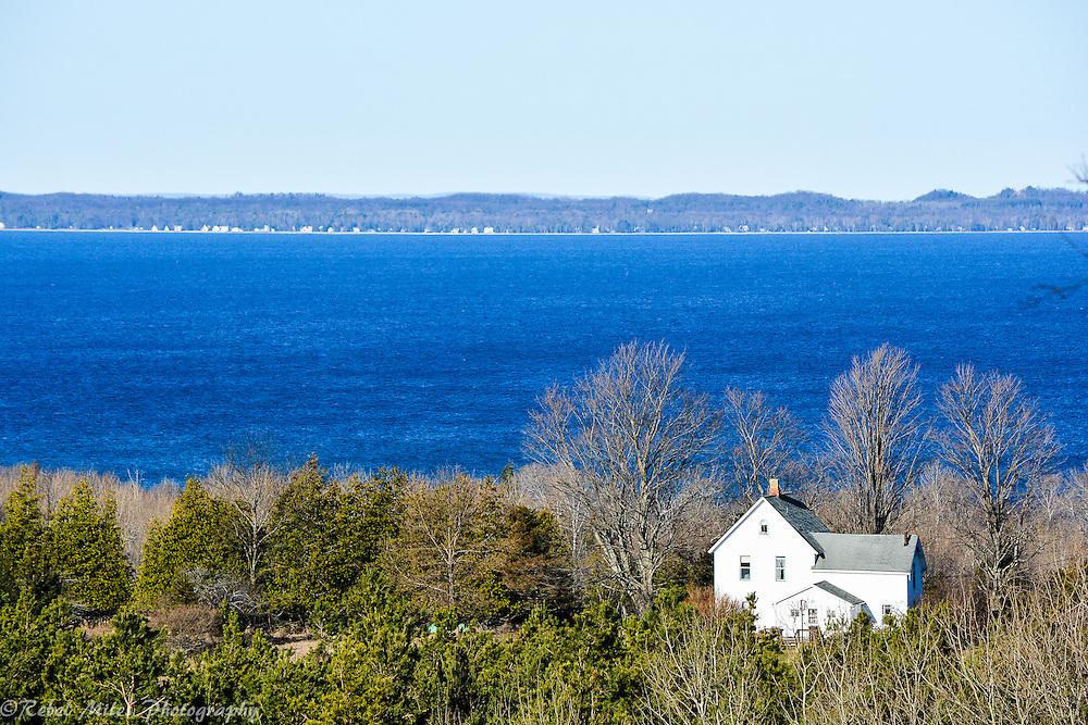 The Deep Blue Water Of Lake Michigan Looking Towards Leelanau Peninsula