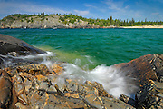 Waves along the shore of Lake Superior<br /> Pukaskwa National Park<br /> Ontario<br /> Canada