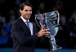 Rafael Nadal poses with the trophy after finishing as the number one ranked ATP men's singles player during day one of the NITTO ATP World Tour Finals at the O2 Arena, London.