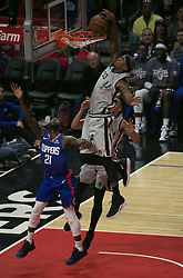 November 15, 2018 - Los Angeles, California, U.S - Dante Cunningham #33 of the San Antonio Spurs dunks the ball as Patrick Beverley #21 of the Los Angeles Clippers attempts to block during their NBA game on Thursday November 15, 2018 at the Staples Center in Los Angeles, California. (Credit Image: © Prensa Internacional via ZUMA Wire)