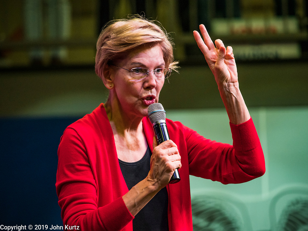 20 OCTOBER 2019 - INDIANOLA, IOWA: US Senator ELIZABETH WARREN (D-MA) speaks to a crowd of about 475 people during a campaign event at Simpson College in Indianola, IA, Sunday. Sen. Warren is campaigning to be the Democratic nominee for the US presidency in Iowa this week. Iowa traditionally hosts the the first selection event of the presidential election cycle. The Iowa Caucuses will be on Feb. 3, 2020.                  PHOTO BY JACK KURTZ