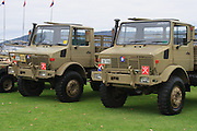 Australian Army mercedes trucks from 41 transport group during 2007 ANZAC day parade in Hobart Tasmania <br />