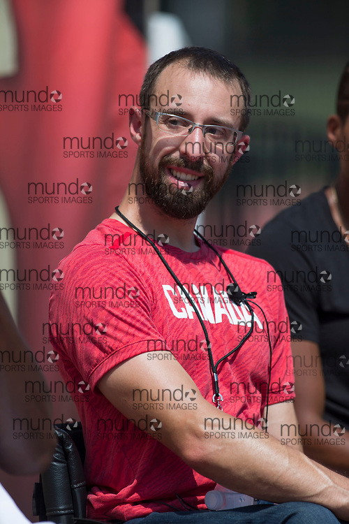 OTTAWA, ON -- 05 July 2018: Canadian multiple Paralympics medalist Brent Lakatos smiling at a question during the press conference launching the 2018 Athletics Canada National Track and Field Championships held at the Terry Fox Athletics Facility in Ottawa, Canada. (Photo by Sean Burges / Mundo Sport Images).