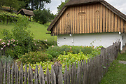 Built early 19th century, the restored Dwelling house (Smitova Hisa) at the Rogatec Open Air Museum, very close to the Croatian border, on 24th June 2018, in Rogatec, Slovenia. The museum of relocated and restored 19th and early 20th century farming buildings and houses represents folk architecture in the area south of the Donacka Gora and Boc mountains.