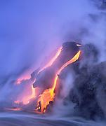 Lava into ocean, Kilauea Volcano, Hawaii Volcanoes National Park, Island of Hawaii, Hawaii, USA<br />