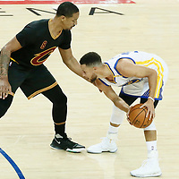 04 June 2017: Cleveland Cavaliers forward Channing Frye (8) defends on Golden State Warriors guard Stephen Curry (30) during the Golden State Warriors 132-113 victory over the Cleveland Cavaliers, in game 2 of the 2017 NBA Finals, at the Oracle Arena, Oakland, California, USA.