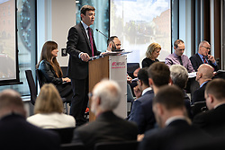 "© Licensed to London News Pictures. 07/01/2019. Manchester, UK. The Metro Mayor of Greater Manchester ANDY BURNHAM announces a revised plan for new housing (some on greenbelt land) , transport infrastructure , the reduction of pollution and improvements to the environment across the North West , alongside the regeneration of Stockport Town Centre , at an event at etc Venues in Manchester City Centre . The new "" Spatial Framework "" also reaffirms the region's commitment to ban fracking and lists 50,000 new "" affordable "" homes (30,000 of which are specified as social housing) . Photo credit: Joel Goodman/LNP"