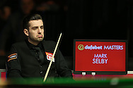 Mark Selby (Eng) looks on from his chair.  Barry Hawkins (Eng) v Mark Selby (Eng) , Quarter-Final match at the Dafabet Masters Snooker 2017, at Alexandra Palace in London on Friday 20th January 2017.<br /> pic by John Patrick Fletcher, Andrew Orchard sports photography.