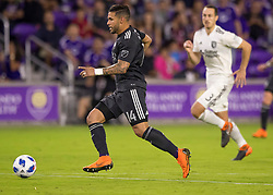 April 21, 2018 - Orlando, FL, U.S. - ORLANDO, FL - APRIL 21: Orlando City forward Dom Dwyer (14) scores his 100th MLS Goal during the MLS soccer match between the Orlando City FC and the San Jose Earthquakes at Orlando City SC on April 21, 2018 at Orlando City Stadium in Orlando, FL. (Photo by Andrew Bershaw/Icon Sportswire) (Credit Image: © Andrew Bershaw/Icon SMI via ZUMA Press)