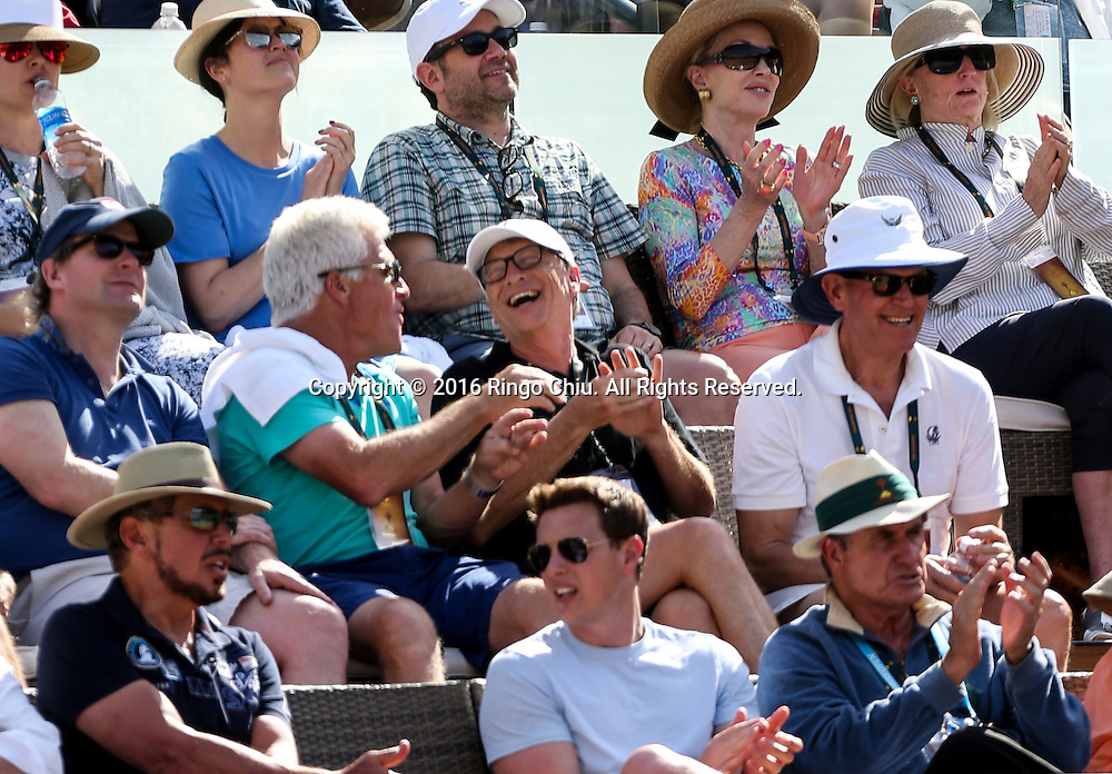 Bill Gates, co-founder of Microsoft watches the men singles semifinal match of the BNP Paribas Open tennis tournament between Rafael Nadal, of Spain, and Novak Djokovic, of Serbia, on Saturday, March 19, 2016 in Indian Wells, California. Djokovic<br /> won 7-6, 6-2. <br /> (Photo by Ringo Chiu/PHOTOFORMULA.com)<br /> <br /> Usage Notes: This content is intended for editorial use only. For other uses, additional clearances may be required.