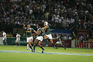 Action from the 2008-2009 opening event in the IRB World sevens series, the Emirates Airline Dubai Sevens 2008 tournament at the new Sevens Stadium in Dubai on 28th/29th November 2008. Fiji v South Africa.