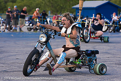 Bean're drift trike racing Saturday afternoon at the Smokeout. Rockingham, NC. USA. June 20, 2015.  Photography ©2015 Michael Lichter.
