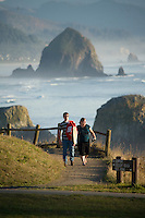 People hiking in Ecola State Park. Cannon Beach, OR.