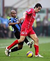 "Douglas Maicon (Inter) Luca Toni (Fiorentina)<br />Italian ""Serie A"" 2006-2007<br />21 Jan 2006 (Match Day 20)<br />Inter-Fiorentina (3-1)<br />""Giuseppe Meazza"" Stadium-Milano-Italy<br />Photographer:Jennifer Lorenzini INSIDE"