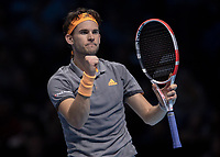 Tennis - 2019 Nitto ATP Finals at The O2 - Day Eight<br /> <br /> Singles Final : Stefanos Tsitsipas (Greece) Vs. Dominic Thiem (Austria)<br /> <br /> Dominic Thiem (Austria) celebrates seciring the first set on a tie break<br /> <br /> COLORSPORT/DANIEL BEARHAM