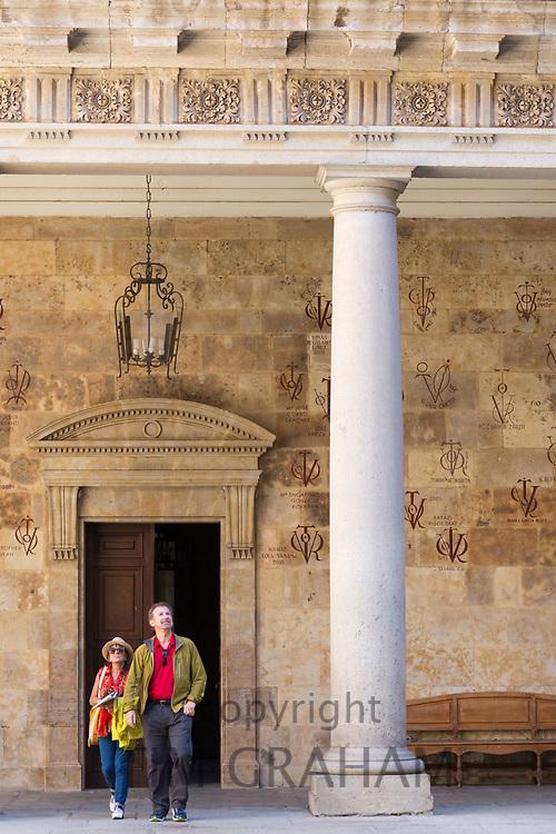 Visitors at University of Salamanca, Faculty of Philology - Languages in Plaza de Anaya, Spain